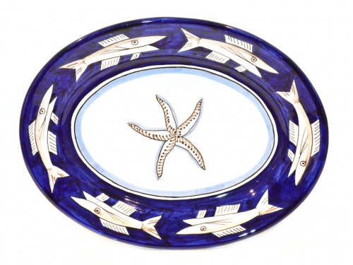 Oval Serving Platter Anchovies blue (2 sizes)