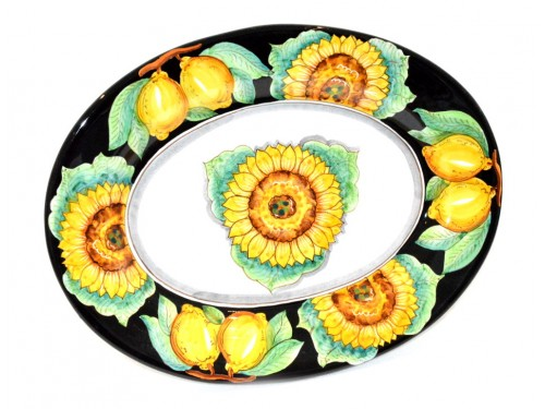 Oval Serving Plate Sunflower Black (2 sizes)