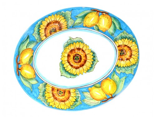 Oval Serving Plate Sunflower Light Blue (2 sizes)