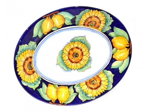 Oval Serving Plate Sunflower Blue (2 sizes)