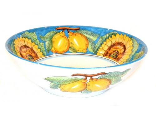 Serving Bowl Sunflower Lemon Light Blue (3 sizes)