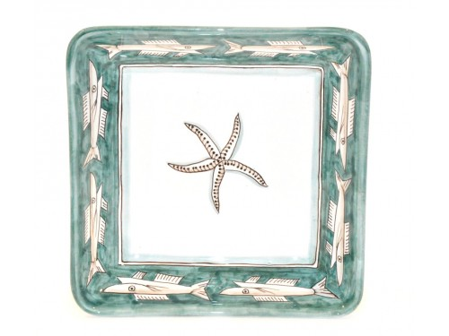 Square Bowl Anchovies Green 11,80 inches (to serve - centrepiece)