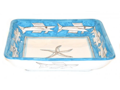 Square Bowl Anchovies Light Blue 11,80 inches (to serve - centrepiece)