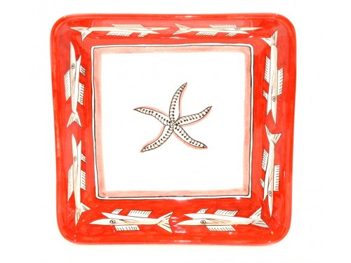 Square Bowl Anchovies red 11,80 inches (to serve - centrepiece)