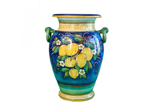 Vase Limoni Blue/Lightblue with handles