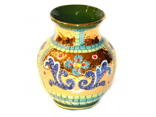 Vase for table Green / Gold 6,30 inches