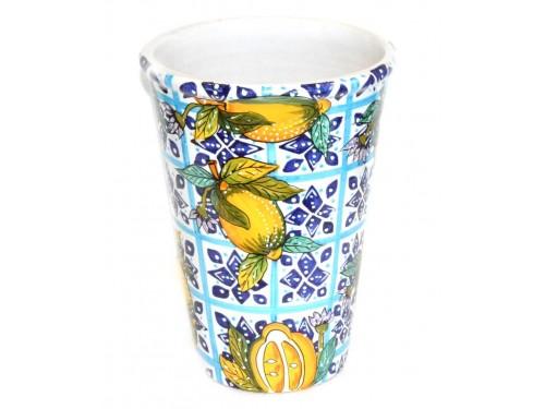 Vase - Ice Bucket Lemon Flowers Blue (last piece)