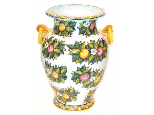 Vase with handle apples white (20 inches)