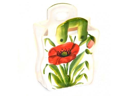Bag red Poppies 5,50 inch (Vase - Utensil Holder)
