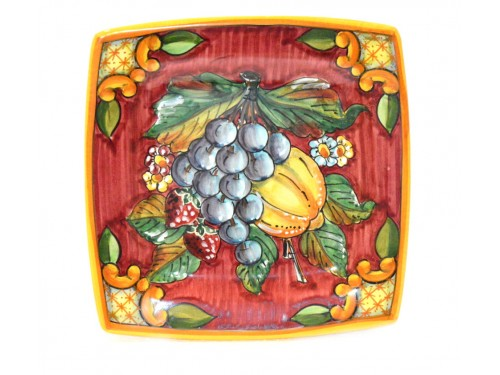 Squared Plate Fruits 7,85 red