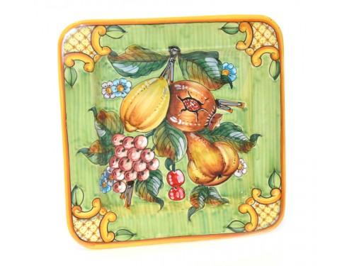 Squared Plate Fruits 11,80 inches green