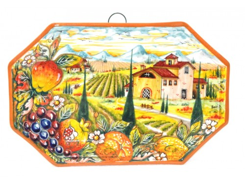 Octagonal Wall Plate Boccia Mix fruits 11,80 inches