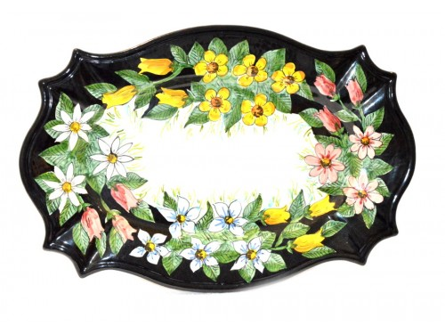 Oval Wall Plate Flowers Black 19,65 inches