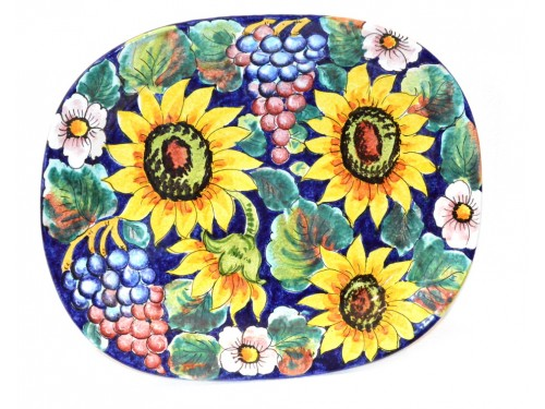 Oval Plate Waves 16,50 inches Sunflowers blue