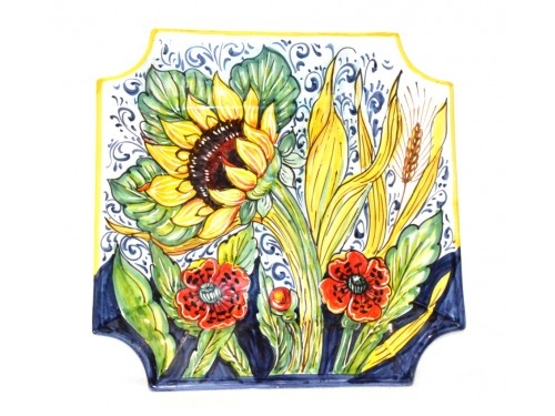 Wall Squared Plate Sunflowers - Poppies 13 inches
