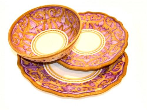 2 dinner + 2 salad + 2 soupbowl elegant purple (last set)