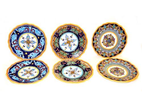 set 6 salad plates 8,25 inch assorted geometric design (unique set)