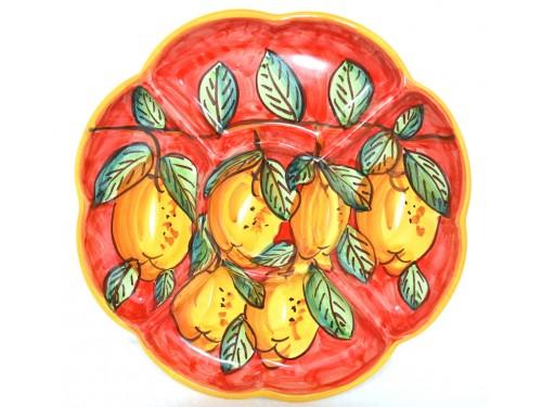 Antipastiera a fiore Limoni rosso