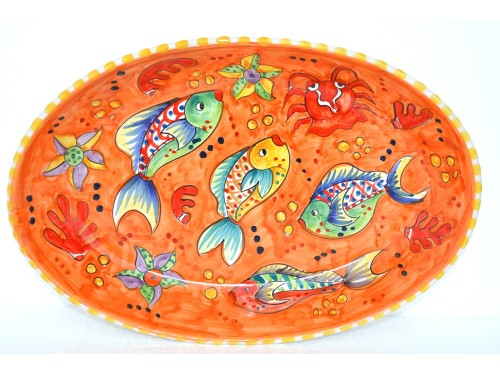 Oval Plate Fishes orange