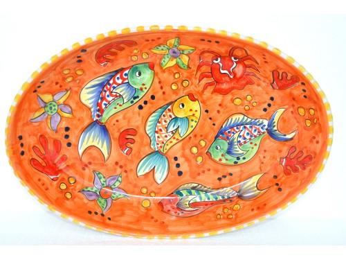 Piatto Ovale Pesci arancione
