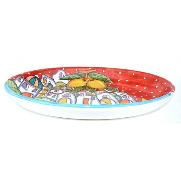 Oval Plate Houses red