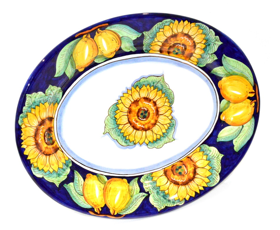 Oval serving plate sunflower lemon Blue