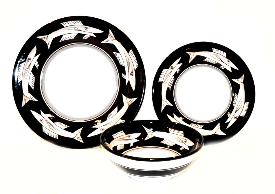 NEW SET OF DISHES ANCHOVIES BLACK